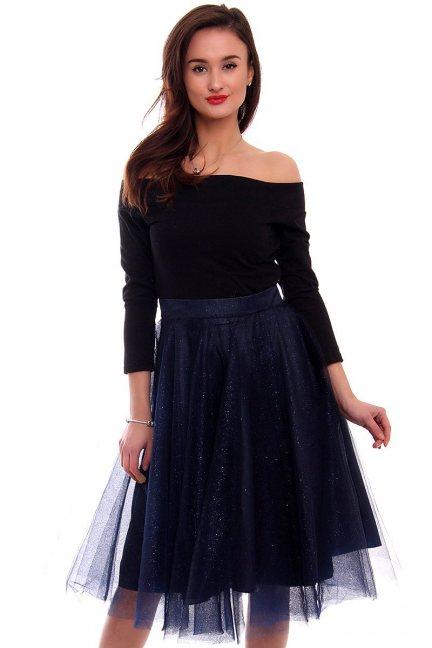 Sukienka tiulowa z koła CM379 granat brokat