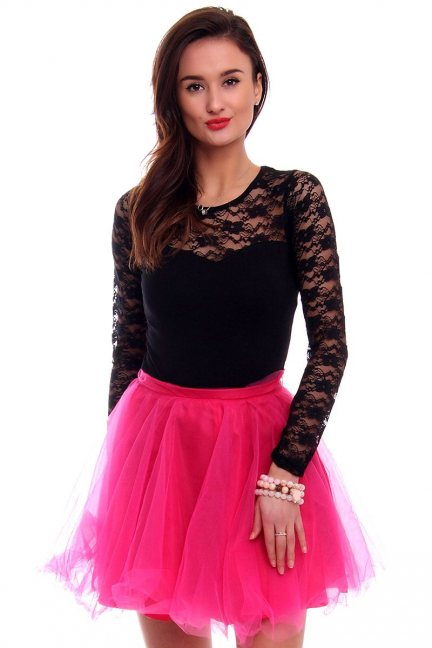 Spódnica tiulowa mini CM311-1 różowa