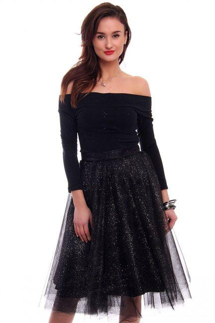 Elegancka sukienka tiulowa czarno-srebrna