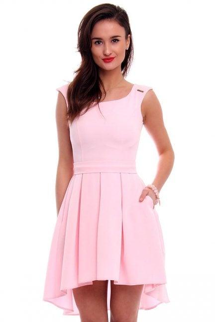 Sukienka asymetryczna CM454 pudrowy róż