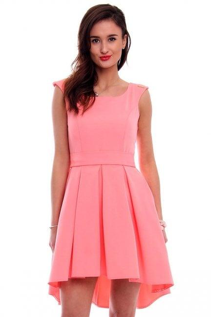 Sukienka asymetryczna CM454 różowa