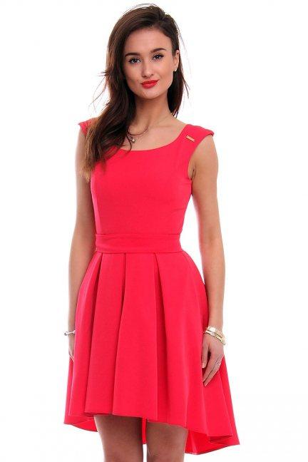 Sukienka asymetryczna CM454 koralowa