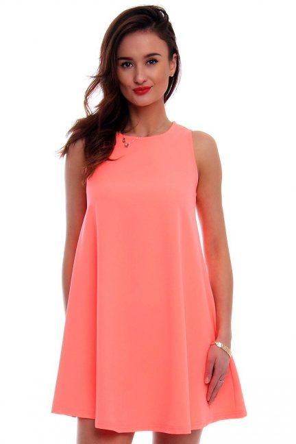 Sukienka rozkloszowana CM492 neonowy róż