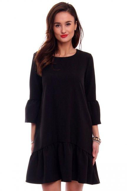 Modna sukienka z falbanką czarna