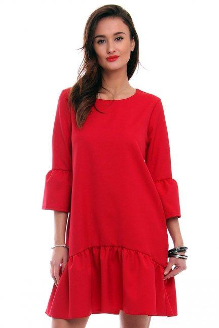Modna sukienka z falbanką czerwona