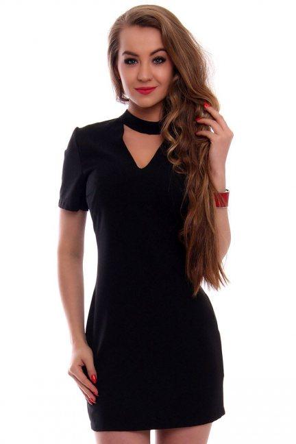 Sukienka damska z chokerem CMK353 czarna