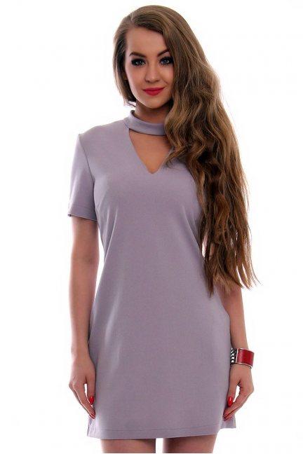 Sukienka damska z chokerem CMK353 szara