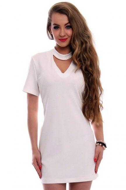 Sukienka damska z chokerem CMK353 ecru