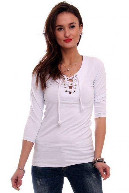 Bluzka z wiązanym dekoltem CMK352 biała