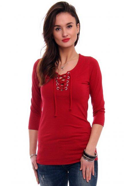 Bluzka z wiązanym dekoltem czerwona