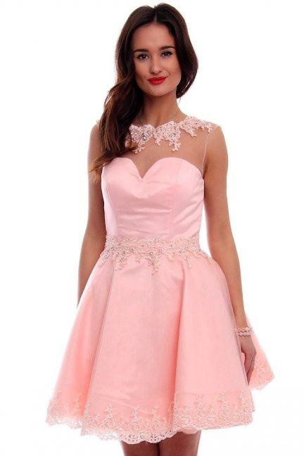 Sukienka tiul z koronką CMW09 różowa