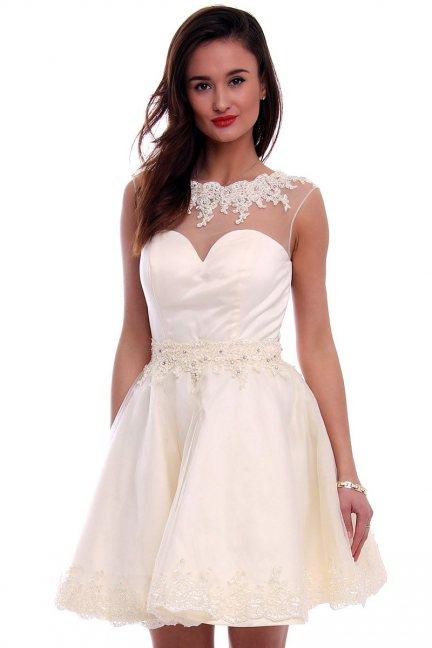 Sukienka tiul z koronką CMW09 ecru