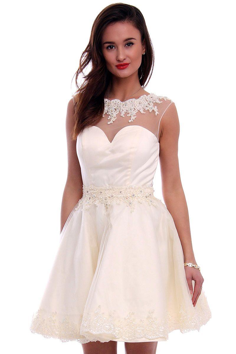 0cca52ac3e Sukienka tiul z koronką CMW09 ecru eleganckie sukienki CosmosModa