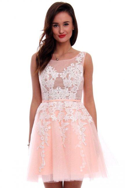 Sukienka tiulowa z gipiurą CMW11 różowa