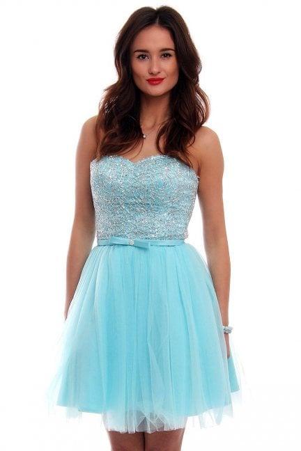 Gorsetowa sukienka błękitna