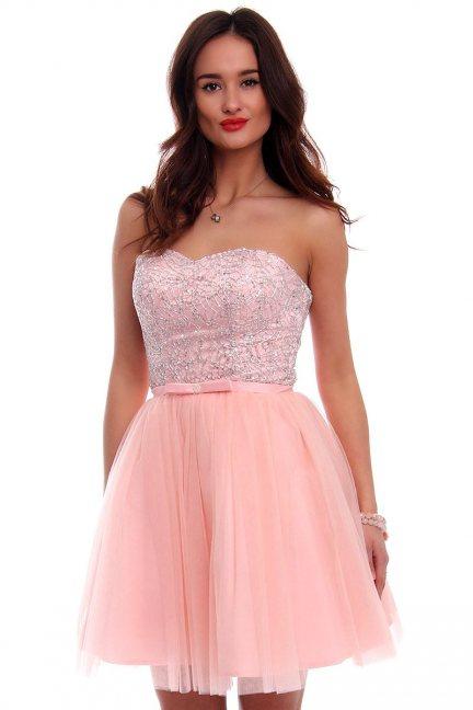 Gorsetowa sukienka różowa