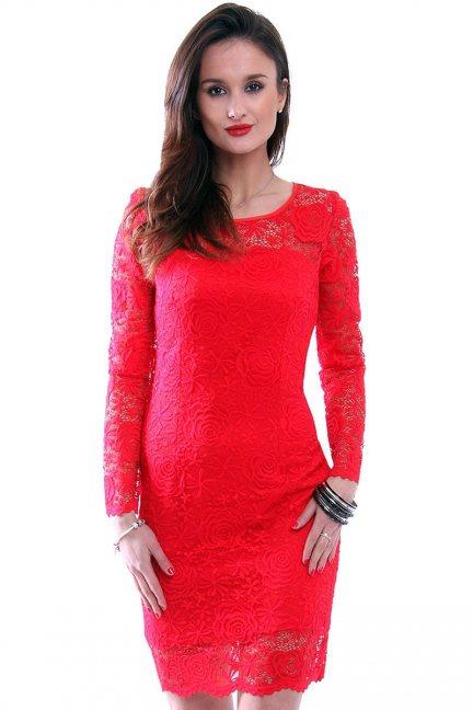 Sukienka damska z koronki CMK340 czerwona