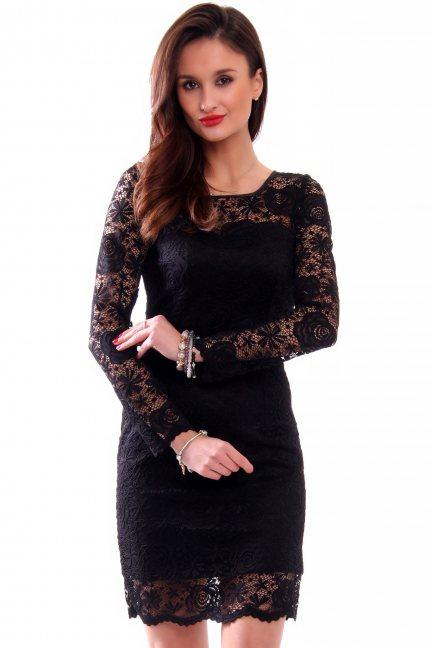 Sukienka damska z koronki CMK340 czarna