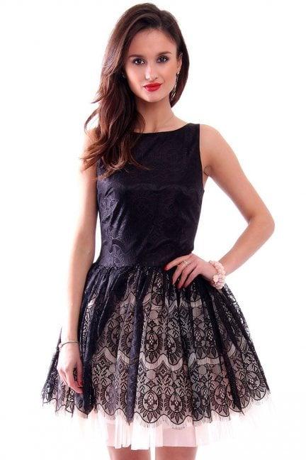 Sukienka z koronki midi CMK341 czarna
