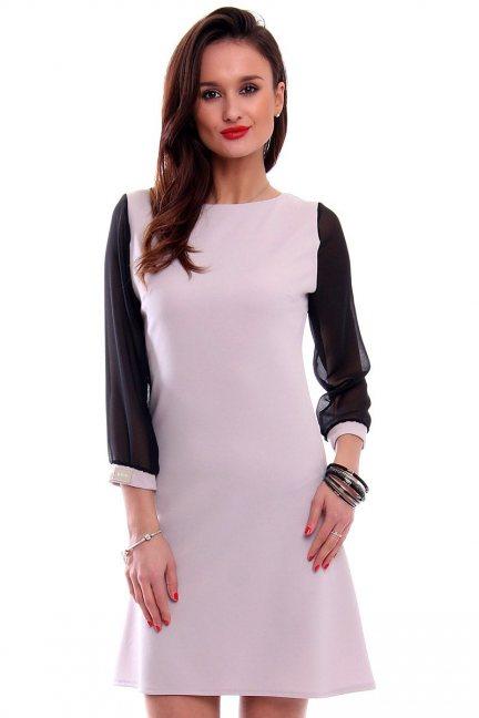 Sukienka trapezowa szyfon CMK345 szara