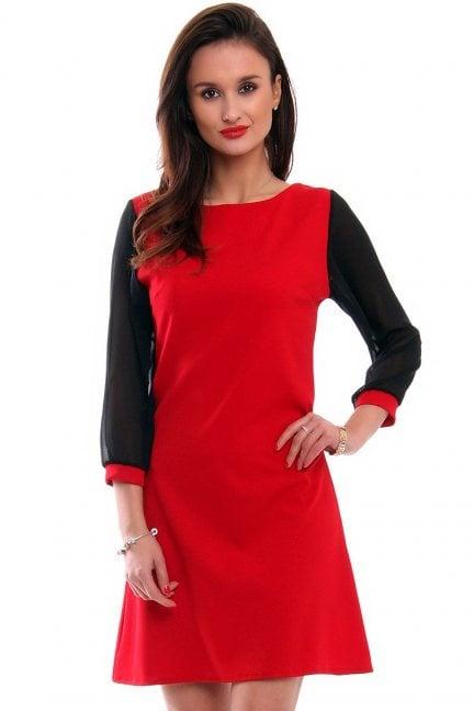 Sukienka trapezowa szyfon CMK345 czerwona