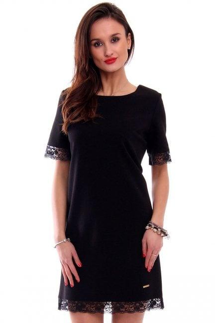 Sukienka midi z koronką CMK346 czarna
