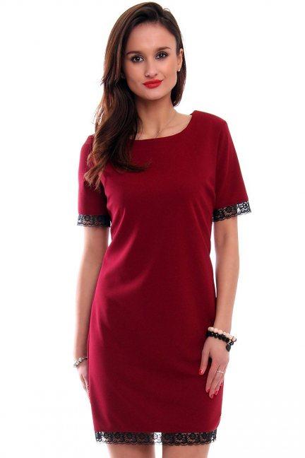 Sukienka midi z koronką CMK346 bordowa