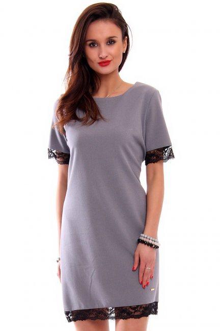 Sukienka midi z koronką CMK346 szara