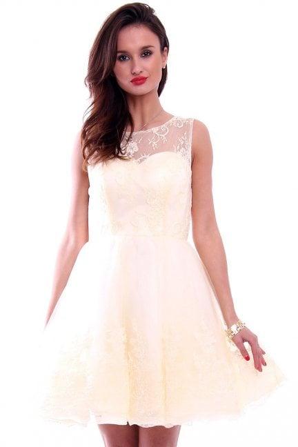 Sukienka rozkloszowana tiul CMW03 ecru