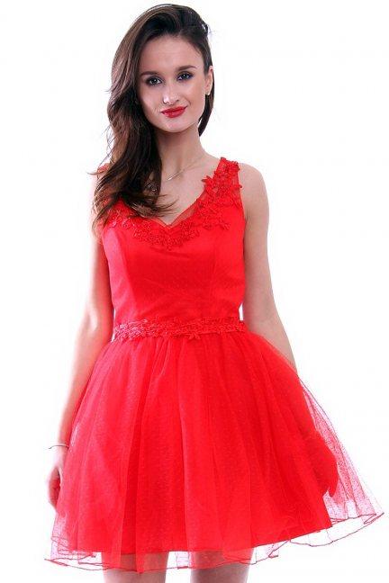 Sukienka tiulowa koronka CMW10 czerwona