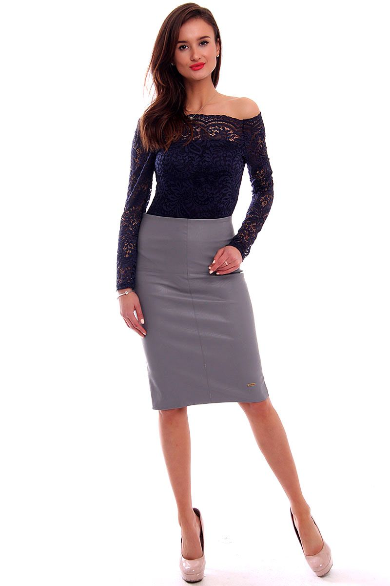 Spódnica skórzana midi CMK325 szara modne spódnice damskie CosmosModa