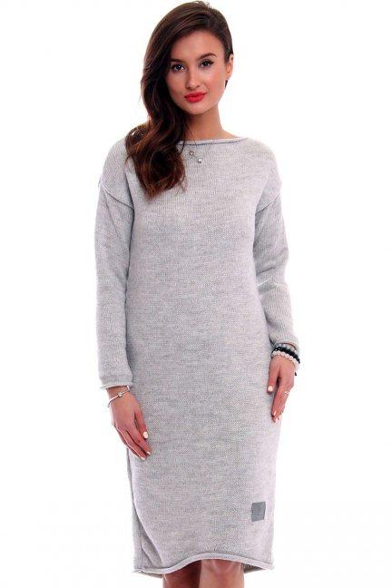 Sukienka sweterkowa długa CMK324 szara