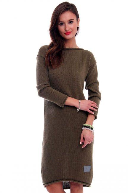 Sukienka sweterkowa długa CMK324 khaki