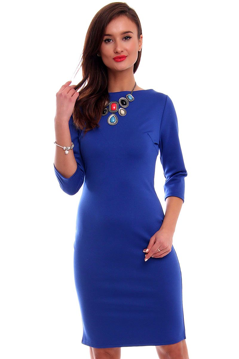 4b1464aa2c Sukienka ołówkowa midi CMK325 chabrowa sukienka damska CosmosModa