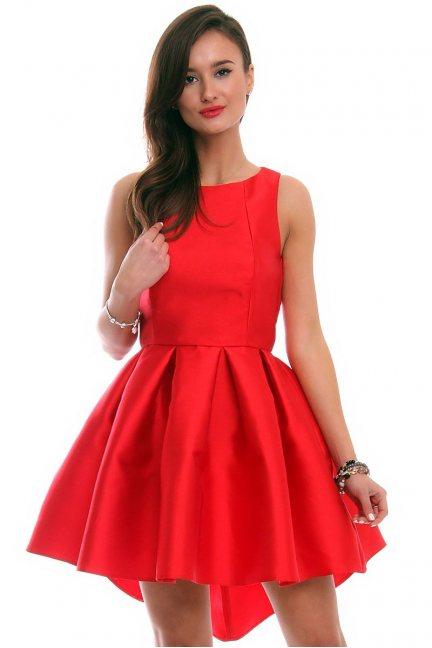 Sukienka z dłuższym tyłem CMK328 czerwona