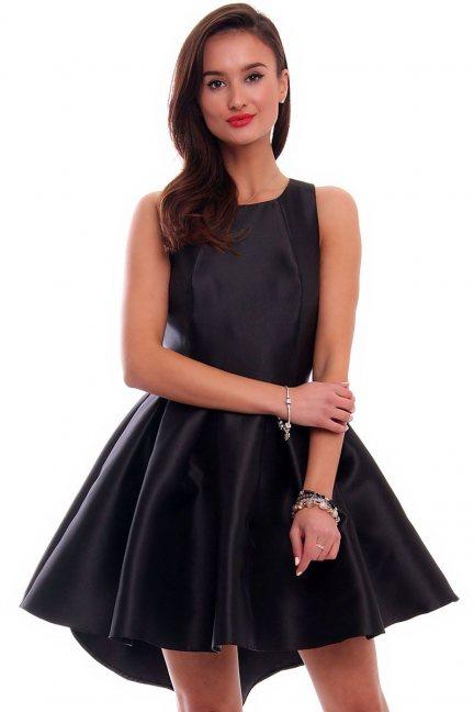 Sukienka z dłuższym tyłem CMK328 czarna