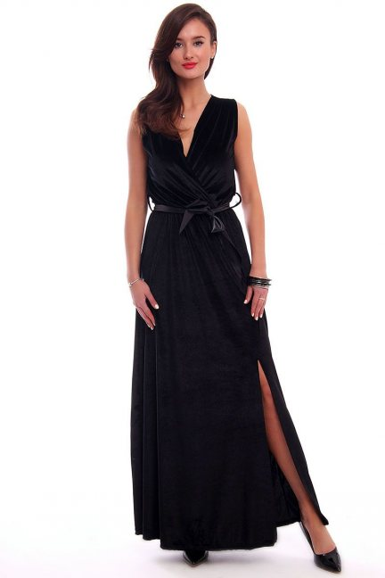 Sukienka welurowa maxi CMK329 czarna