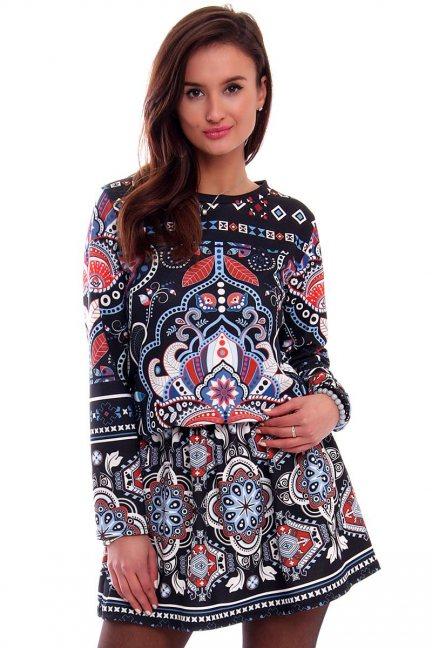 Sukienka w aztecki wzór CMK330 czarna