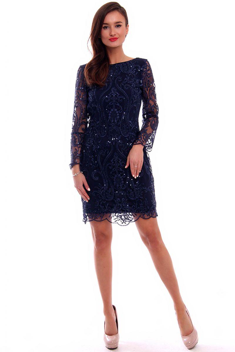 5727d036 Sukienka ołówkowa z koronki CMK332 granatowa sukienki sklep CosmosModa