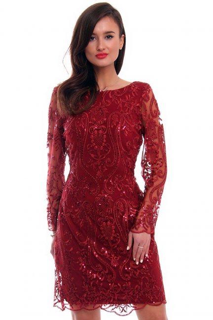 Sukienka ołówkowa z koronki CMK332 bordowa