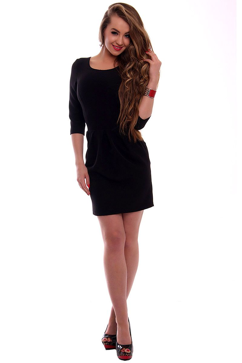 4ba255fe33 Elegancka sukienka bombka CMK355 czarna  Sukienka wieczorowa czarna  Sukienka  damska ...
