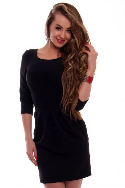 Elegancka sukienka bombka CMK355 czarna