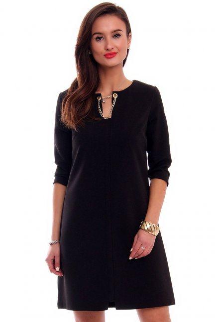 Sukienka elegancka trapez CMK335 czarna
