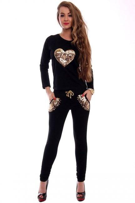 Dresy damskie złote serce CMK357 czarny
