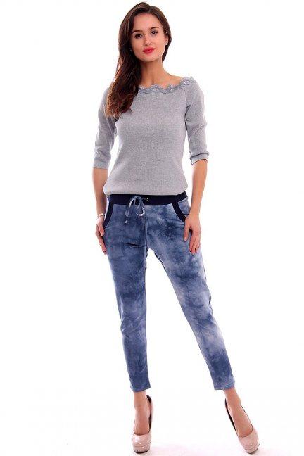 Spodnie dresowe marmurek CM135 niebieskie
