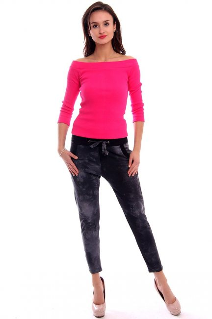Spodnie dresowe marmurek CM135 czarne