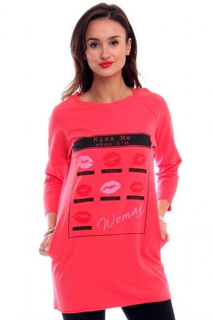 Bluzka z nadrukiem KISS CM266-1 czerwona