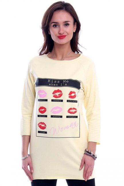Bluzka z nadrukiem KISS CM266-1 żółta