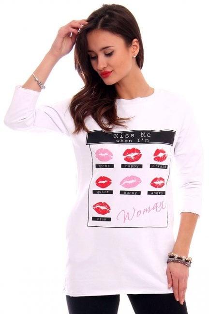 Bluzka z nadrukiem KISS CM266-1 biała