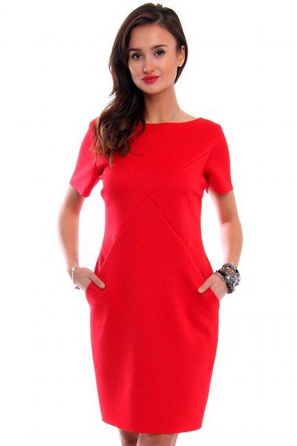 Sukienka tuba z kieszeniami CM547 czerwona